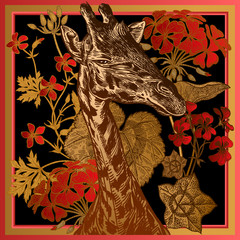 Floral print. Geranium flowers and leaves and Head of African animal giraffe close-up.