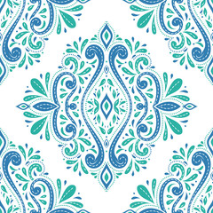 Green and blue floral seamless pattern. Vintage vector, paisley elements. Traditional, Turkish, Indian motifs. Great for fabric and textile, wallpaper, packaging or any desired idea.