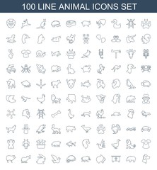 100 animal icons. Trendy animal icons white background. Included line icons such as wolf, bear, beehouse, panther, hog, chameleon, bird, rabbit. animal icon for web and mobile.
