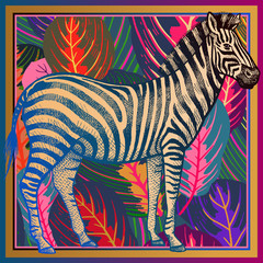 African zebra close-up and striped tropical leaves. Animal print.