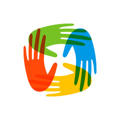 Wall Mural - Colorful people hands concept for social help