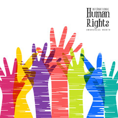 Human Rights Month card of diverse people hands