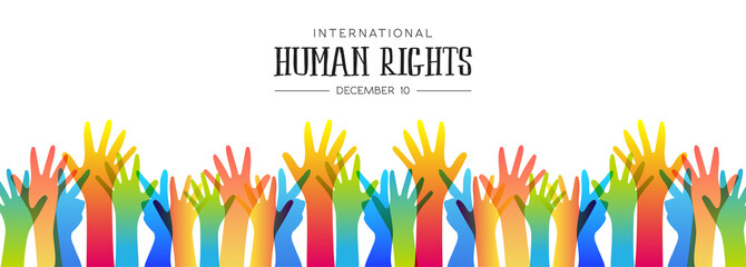 Human Rights day banner of diverse people hands