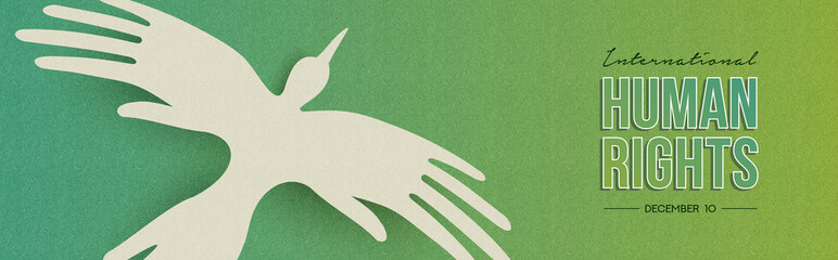 Human Rights web banner of people hand bird