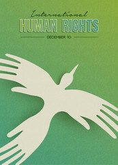 Human Rights greeting card of people hand bird