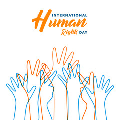 Human Rights day card of diverse people hands