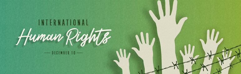Human Rights Month card of people hands