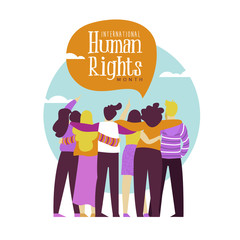 Human Rights card of diverse people friend group