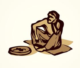 Beggar. Vector drawing