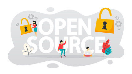 Open source concept. Free software. Download and install