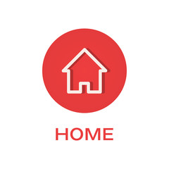 Home round flat icon, house symbol