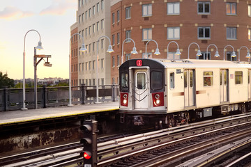 New York subway train arrives at the station.