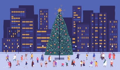 Tiny people walking around big Christmas tree on city square. Men, women and children celebrating holiday at outdoor party. Winter street festival. Festive vector illustration in flat cartoon style.