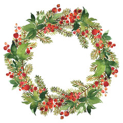 Christmas Watercolor wreath of spruce and red holly berries