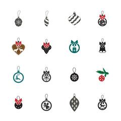 new year tree toys icon. set of christmas balls icon set.