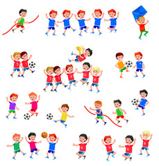 Cute vector character child playing football, basketball