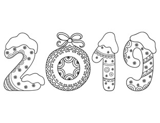 Decorative image of number 2019 in cartoon style for greetings with New Year. Pattern in form of figures, Christmas tree ball, bow and snowflakes.