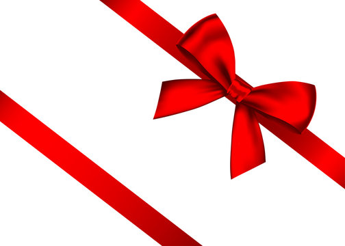 Red realistic gift bow with horizontal  ribbon.