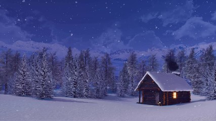 Fototapete - Cozy snow covered wooden hut with smoking chimney and lighted window among snowbound fir forest high in mountains at peaceful winter night during snowfall. With no people 3D animation rendered in 4K