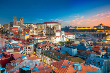 Porto, Portugal. Aerial cityscape image of Porto, Portugal with the Porto Cathedral and old town during sunset. Fototapete