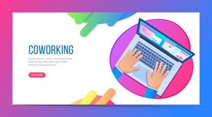 Banner with top view on a man who works with a laptop. Coworking space, successful business or freelancers. Vector illustration