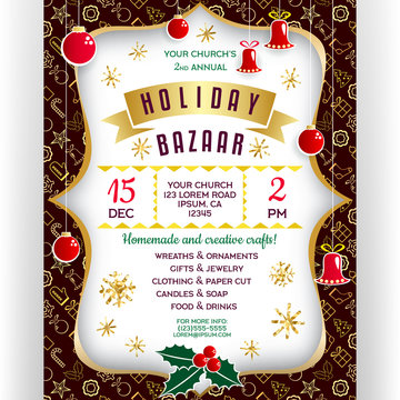 Poster for winter holiday bazaar. Christmas decorative items, golden banner and snowflakes.