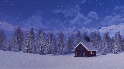 Fototapete - Peaceful winter landscape with cozy solitary wooden house among snow covered fir forest high in snowy alpine mountains at night during heavy snowfall. With no people 3D animation rendered in 4K