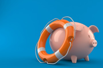 Piggy bank with life buoy