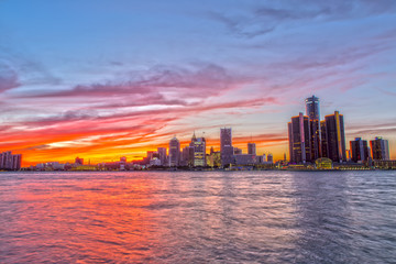 Detroit Skyline from Windsow Riverfront at Sunset