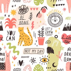 Seamless pattern with handwritten slogans and animals, plants, symbols hand drawn in trendy doodle style. Creative colorful vector illustration for textile print, wrapping paper, backdrop, wallpaper.