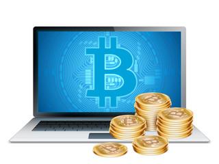 Laptop and Golden Bitcoins