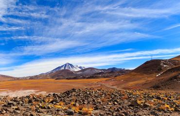 Rocky desert landscape of Atacama, July 12, 2018, Atacama Desert, Chile.