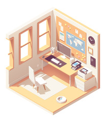 Vector isometric home office room