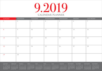 September 2019 desk calendar vector illustration