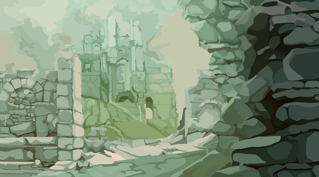 painted medieval stone ruins in a fog of gray green tones