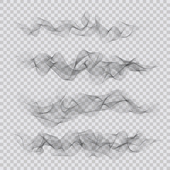 Set of abstract smoky waves backgrounds. Vector elements design
