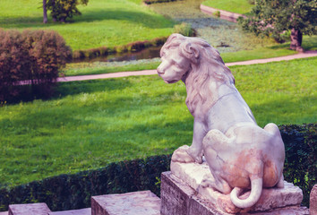Ancient Lion sculpture on stairs