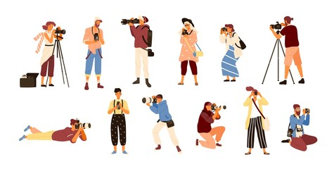 Set of various photographers holding photo camera and photographing. Creative profession or occupation. Cute female and male cartoon characters take photo shot. Colored vector illustration flat style.