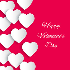 Paper 3D hearts pink background. Valentines Day card. Vector illustration
