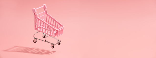 Tuinposter Pop Art Shopping trolley minimal