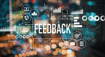 Feedback with blurred city abstract lights background Wall mural