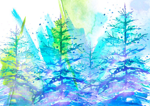 Watercolor picture, postcard. A group of coniferous trees, fir trees, fir trees in winter, in a snowdrift on a blue background. Abstract splash of blue, green paint. Watercolor card,background