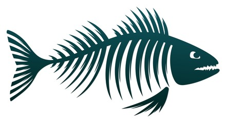 Skeleton of predatory sea fish.