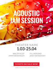 Modern acoustic classical music poster flyer. Local Music festival announcment, classical acoustic concert banner design