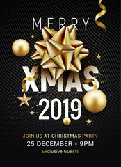 Christmas party poster template 2019. Christmas gold silver balls and golden bow flyer greeting decoration invitation banner