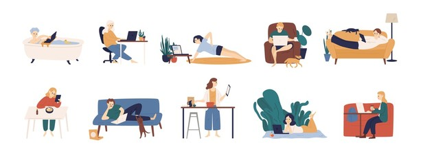 Collection of people surfing internet on their laptop and tablet computers. Set of men and women spending time online isolated on white background. Colorful vector illustration in flat cartoon style.