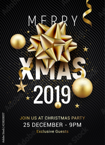 Christmas Party 2019 Logo.Christmas Party Poster Template 2019 Christmas Gold Silver