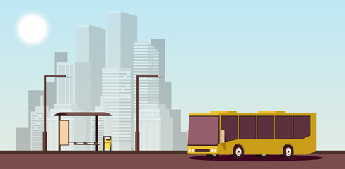 Flat Urban Concept of Public Transport. Vector Isometric Illustration.