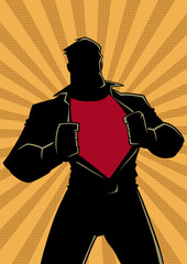 Silhouette illustration of businessman revealing his true identity of powerful superhero.
