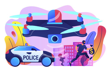 Police car and drone tracking thieve in mask with money and crime scene. Law enforcement drones, police drone use, smart city IoT tools concept. Bright vibrant violet vector isolated illustration